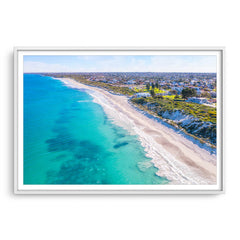 Aerial view of Mullaloo Beach in Perth, Western Australia framed in white