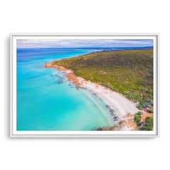 Aerial view of Castle Bay in SW of Western Australia framed in white