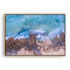 Aerial view of Mettams Pool in Perth, Western Australia framed canvas in raw oak