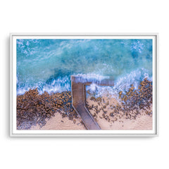 Aerial view of Mettams Pool in Perth, Western Australia framed in white