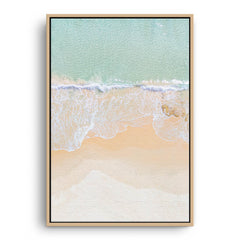 Aerial view of North Cottesloe in Western Australia framed canvas in raw oak