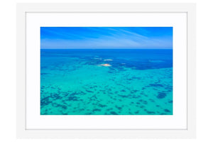 Tiny Island off the Perth Coastline in Western Australia framed in white