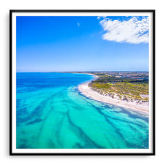 Aerial view of Pinnaroo Point in Perth, Western Australia framed in black