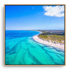 Aerial view of Pinnaroo Point in Perth, Western Australia framed canvas in raw oak