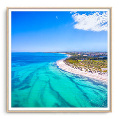 Aerial view of Pinnaroo Point in Perth, Western Australia framed in raw oak