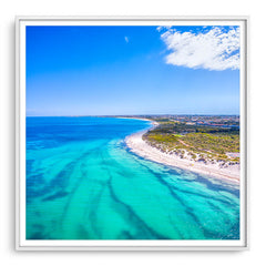 Aerial view of Pinnaroo Point in Perth, Western Australia framed in white