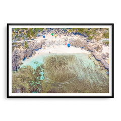 Aerial view of Mettams Pool in Perth, Western Australia framed in black