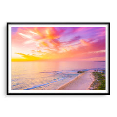 Sunset over Trigg Beach in Perth, Western Australia framed in black