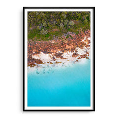 Aerial view of Castle Bay in Western Australia framed in black