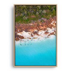 Aerial view of Castle Bay in Western Australia framed canvas in raw oak