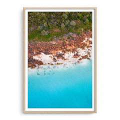 Aerial view of Castle Bay in Western Australia framed in raw oak