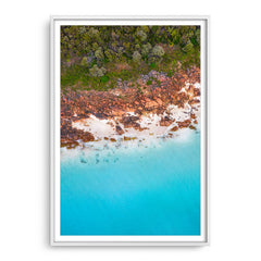 Aerial view of Castle Bay in Western Australia framed in white