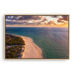 Aerial view of kitesurfer at Pinnaroo Point in Western Australia framed canvas in raw oak
