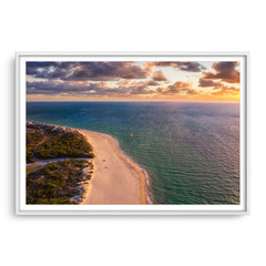 Aerial view of kitesurfer at Pinnaroo Point in Western Australia framed in white
