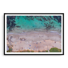 Aerial view of social distancing at Mettams Pool in Western Australia framed in black