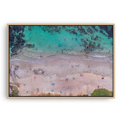 Aerial view of social distancing at Mettams Pool in Western Australia framed canvas in raw oak