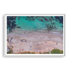 Aerial view of social distancing at Mettams Pool in Western Australia framed in white