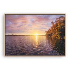 Sun sets over Lake Monger in Perth, Western Australia framed canvas in raw oak