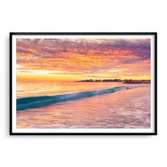 Winter sunset over Sorrento Beach in Perth, Western Australia framed in black