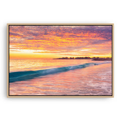 Winter sunset over Sorrento Beach in Perth, Western Australia framed canvas