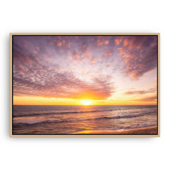 Simple sunset over Mettams Pool in Perth, Western Australia framed canvas