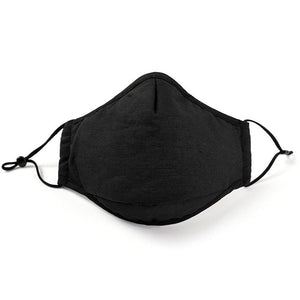 Black Organic Cotton Reusable Face Mask with adjustable earloop and black interior The Peoples Mask Canada