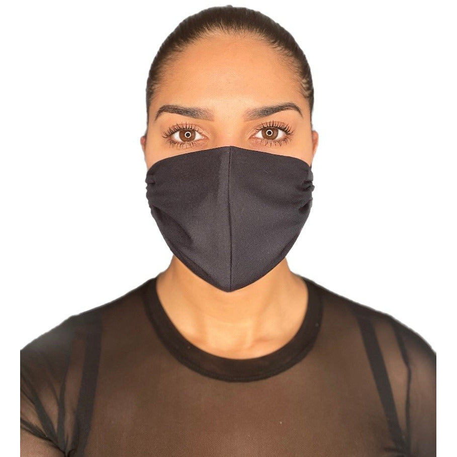 Black Face Mask With Filter Pocket Adult Size Washable Reusable Made in Canada - The Peoples Mask