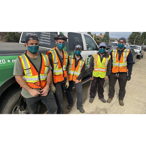 Construction workers in Edmonton wearing blue face mask - The Peoples Mask