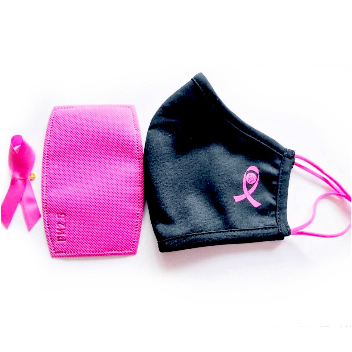 3 Layer Organic Cotton Breast Cancer Pink Ribbon Face Mask With Filter Set