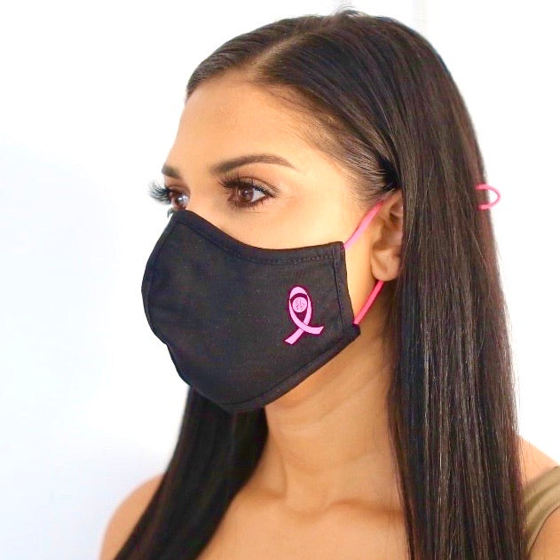 Breast Cancer Pink Ribbon Face Mask Set