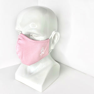 Pink Face Mask with White Breast Cancer Ribbon Logo for Breast Cancer Awareness