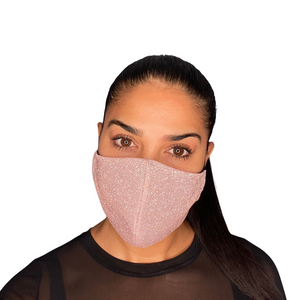 Pink Sparkly Glam Face Mask With Filter Pocket | Earloop|Vanity Couture