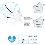 Size guide for reusable protective cloth face mask| The Peoples Mask - The Peoples Mask