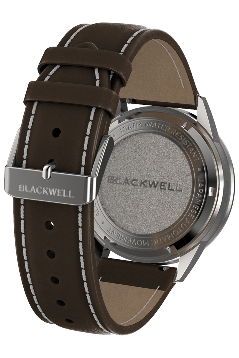 Color Touch - Dark Blue Dial With Stainless Steel Case And Dark Brown Suede Leather