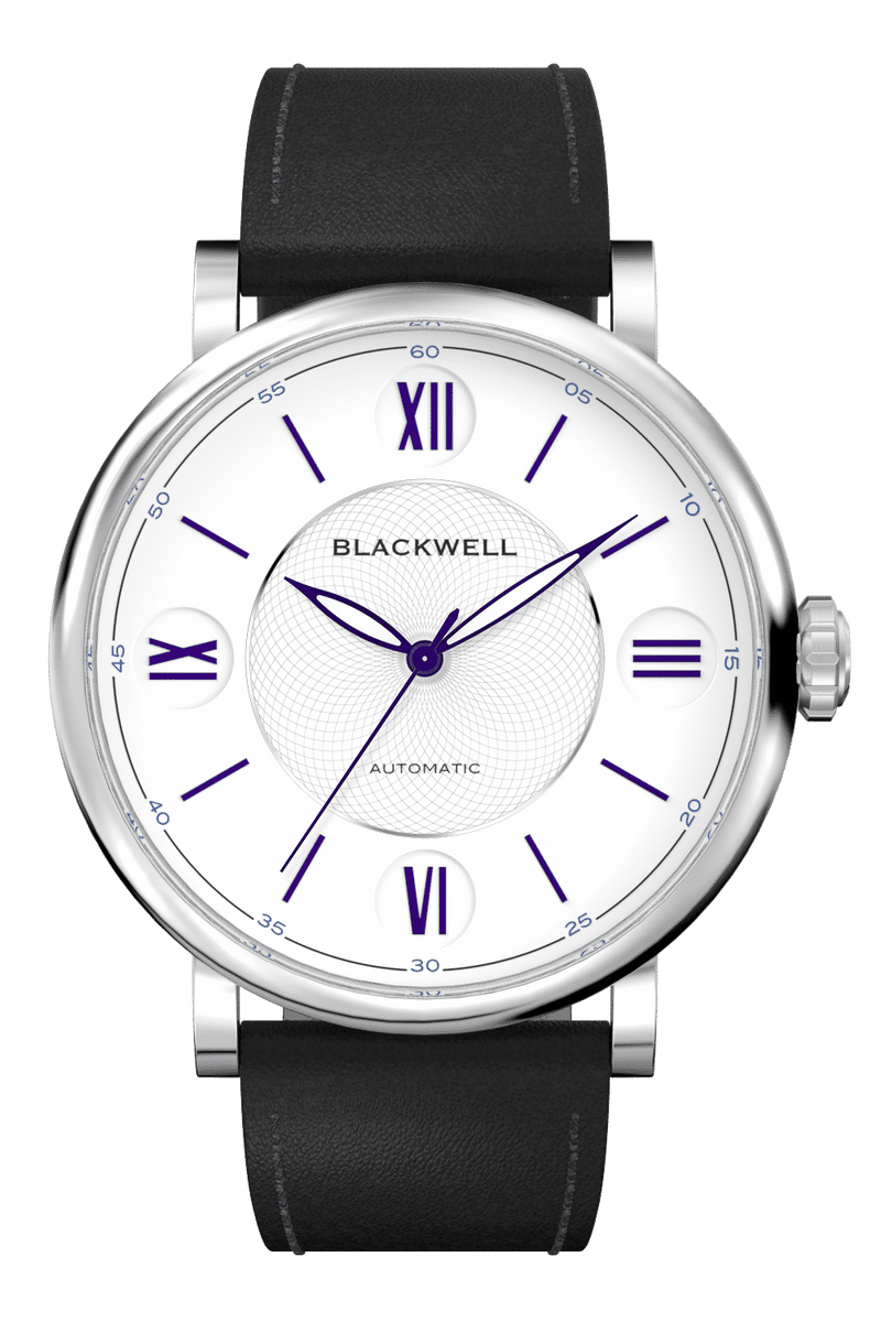 White Dial with Silver Steel and Black Leather 10017