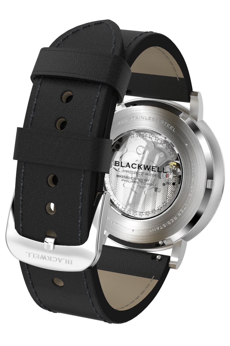 Black Dial with Silver Steel and Black Leather 10017