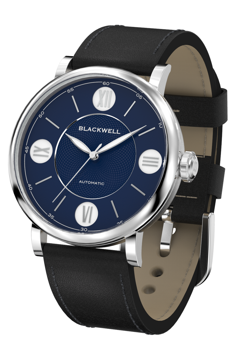 Dark Blue Dial with Silver Steel and Black Leather 10017