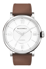 White Dial with Silver Steel and Brown Leather 10017