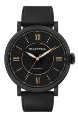 Black Dial with Black Plated Steel and Black Leather 10017