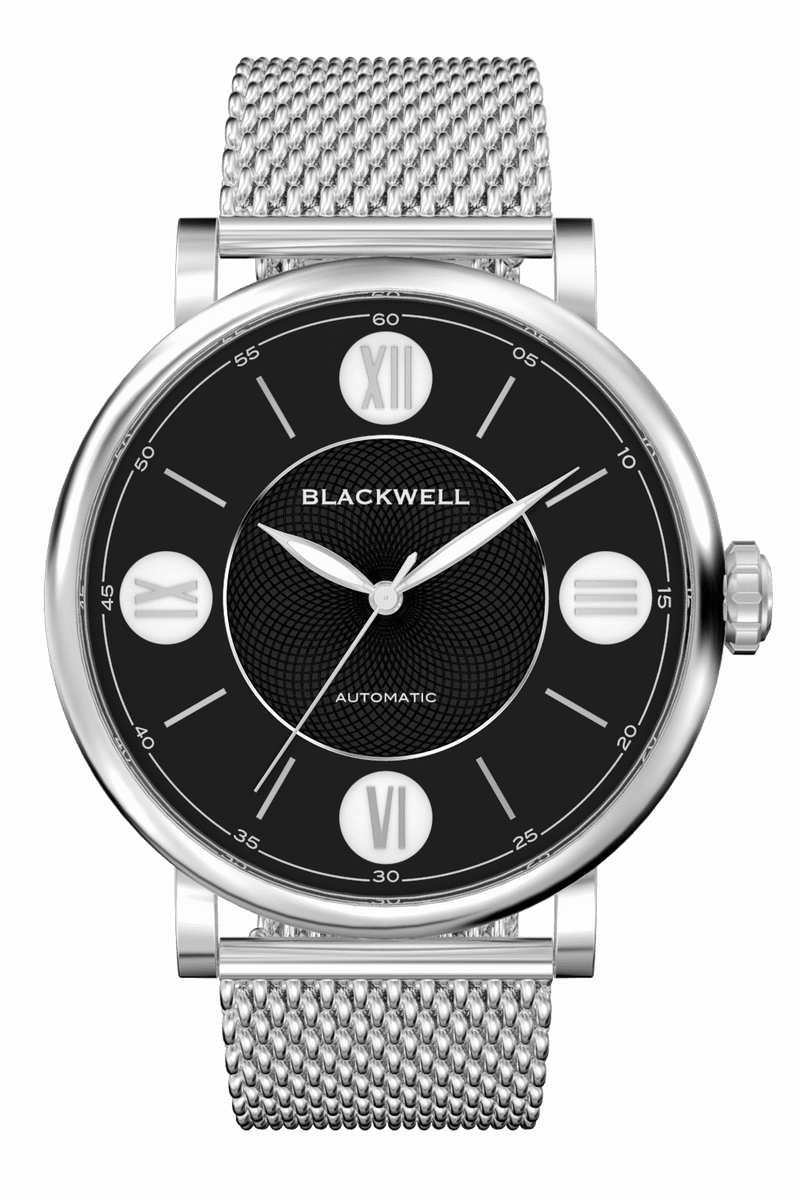Black Dial with Silver Steel and Silver Steel Mesh 10017