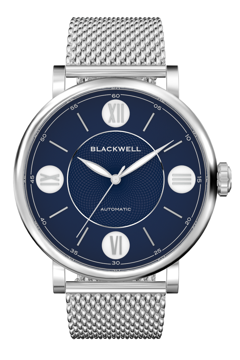 Blue Dial with Silver Steel and Silver Steel Mesh 10017