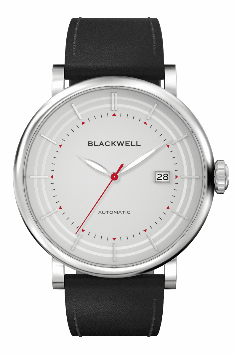 Grey Dial with Silver Steel and Black Leather 10111