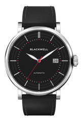 Black Dial with Silver Steel and Black Leather 10111