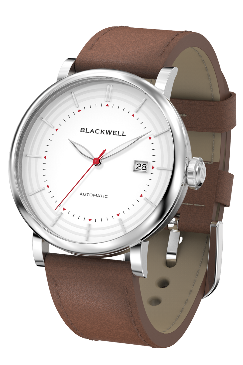 Silver Satin Dial with Silver Steel and Brown Leather 10111