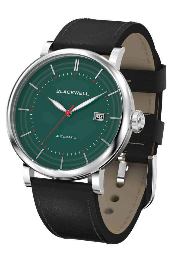 Green Dial with Silver Steel and Black Leather 10111