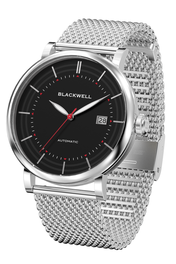 Black Dial with Silver Steel and Silver Steel Mesh 10111