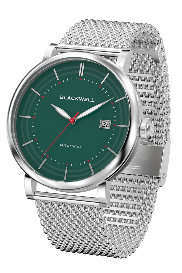 Green Dial with Silver Steel and Silver Steel Mesh 10111