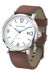 White Dial with Silver Steel and Brown Leather 10003