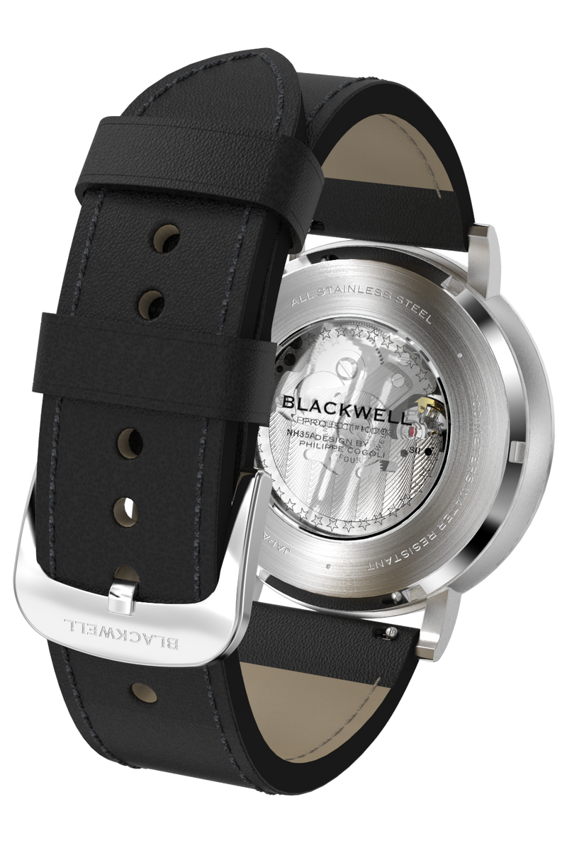 Sunray Black Dial with Silver Steel and Black Leather 10003