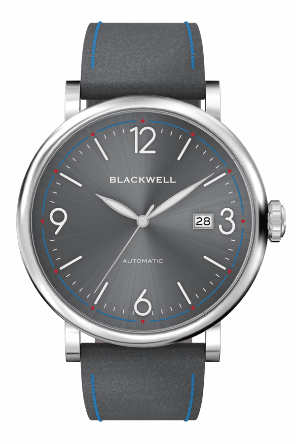 Sunray Grey Dial with Silver Steel and Grey Leather 10003